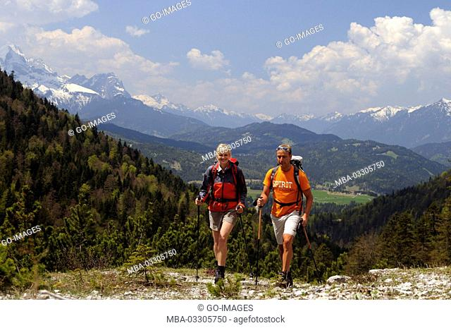 Hiker in the way to the Fereinsalm, Upper Bavaria, Germany