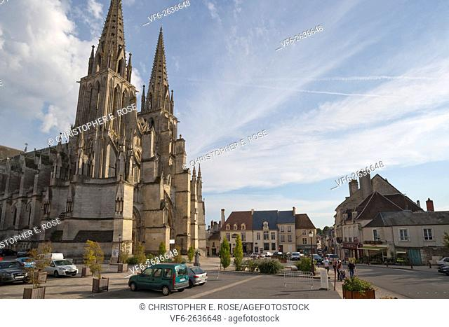 Street scene around the Gothic cathedral at Sees, Orne, Normandy, France