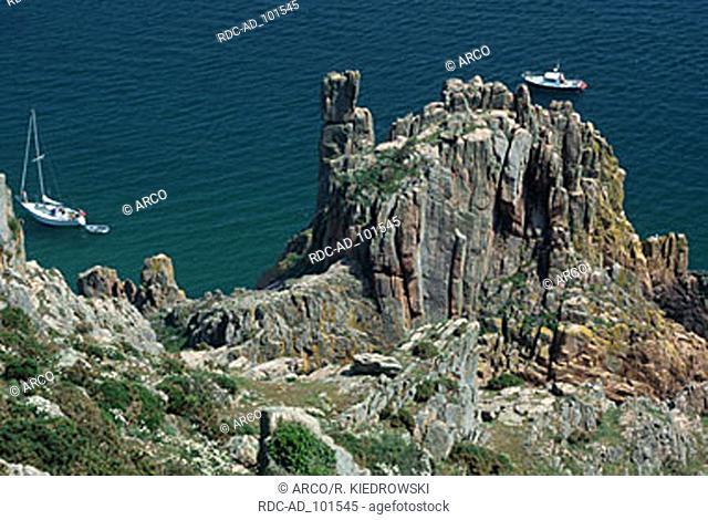 Rocky coast Beauport Bay Jersey Channel Islands Great Britain