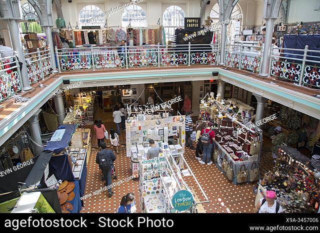 Stalls at Market Hall; Camden Town; London; England; UK