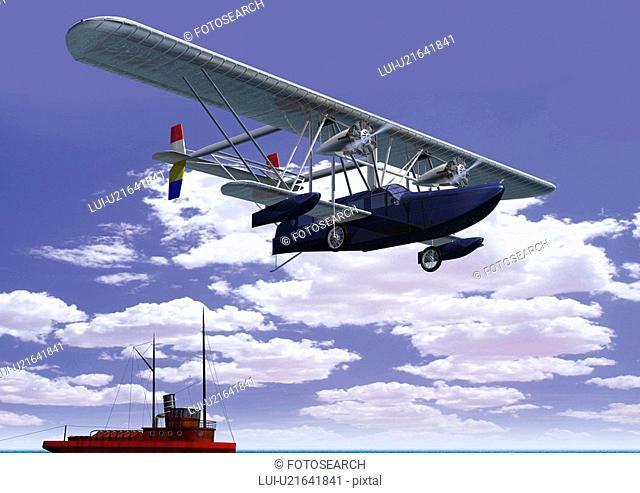 Aircraft and Ship, CG, Illustration, Low Angle View