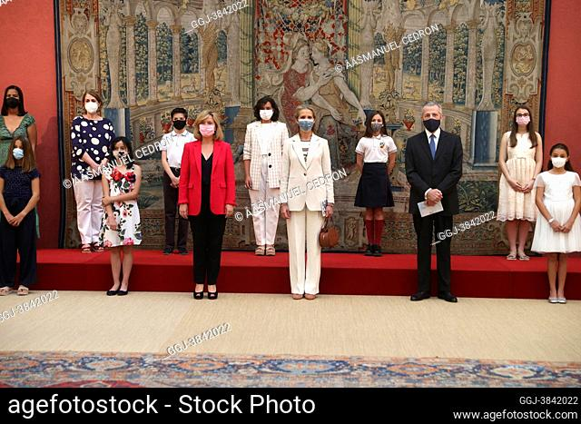 Princess Elena de Borbon attends Prizes of the 30th ÔChildren's and Youth Painting Competition for SchoolsÕ at El Pardo Royal Palace on June 29, 2021 in Madrid
