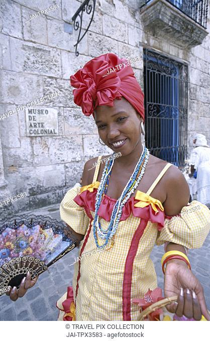 Woman Dressed in Traditional Costume / Colonial Dress, Havana (Habana), Cuba