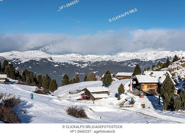 Alpe di Siusi/Seiser Alm, Dolomites, South Tyrol, Italy. The Arnika mountain hut