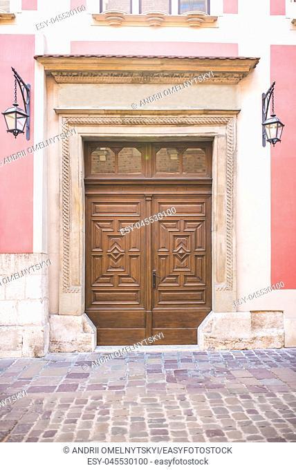 old vintage wooden with metal door of classical europe