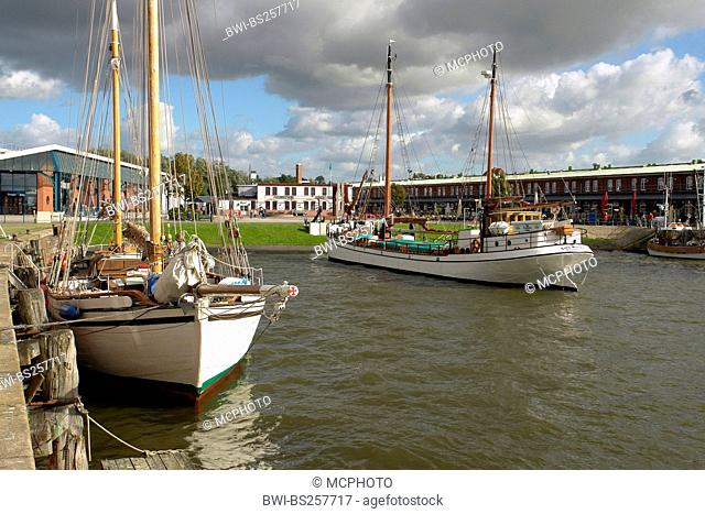Historical boats in old Harbour, Germany, Lower Saxony, Bremerhaven