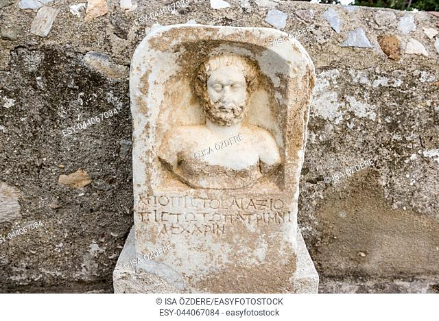 Detail of an ancient Roman marble sculpture engraving or blocks in Castle of St. Peter or Bodrum Castle, Turkey