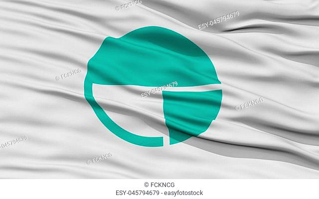 Closeup of Nagano Flag, Capital of Japan Prefecture, Waving in the Wind, High Resolution