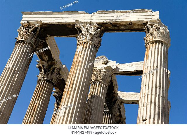Detail of the temple's Corinthian capitals and architraves, Temple of Zeus, Athens, Greece