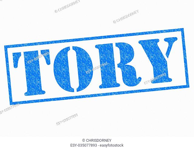 TORY blue Rubber Stamp over a white background