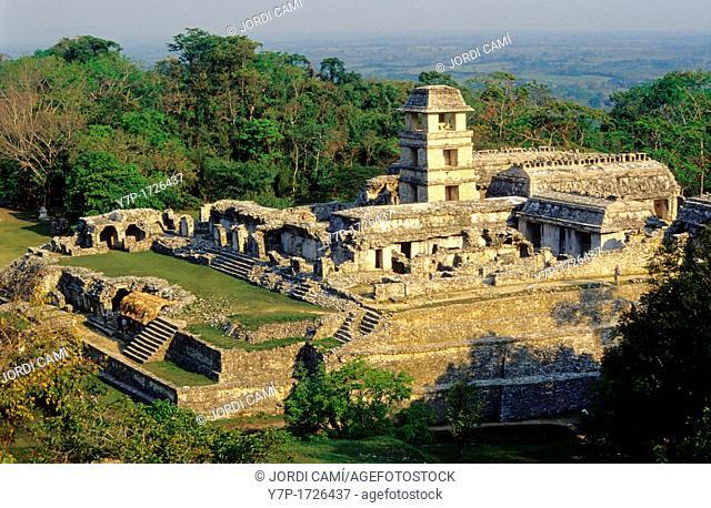 El Palacio, The Palace, Palenque Archaeological Site, Palenque, Chiapas State, Mexico