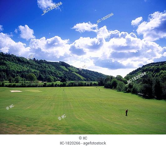 Woodenbridge Golf Course, Avoca, Co Wicklow, Ireland, High angle view of a man on a golf course
