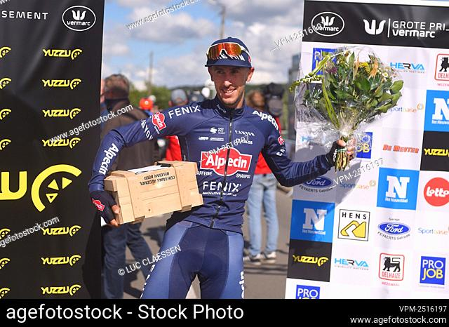 Belgian Dries De Bondt of Alpecin-Fenix celebrates after winning the points price at the Grote Prijs Vermarc Sport one day cycling race