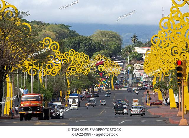 first lade rosario murillo designed yellow threes of life in managua