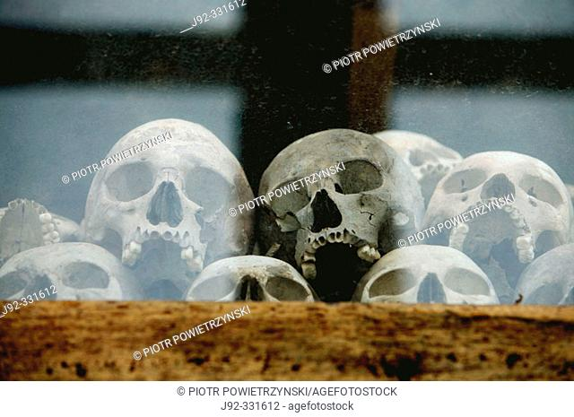 Skulls of the Khmer Rouge's victims exposed in stupa at the Killing Fields Memorial of Choeung Ek, near Phnom Pehn. Cambodia