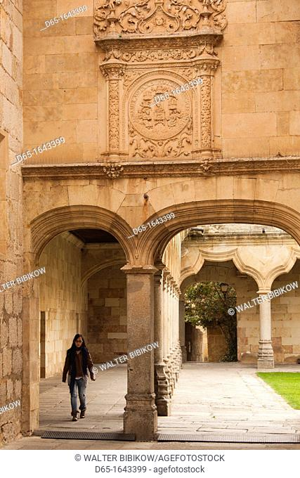 Spain, Castilla y Leon Region, Salamanca Province, Salamanca, University of Salamanca, detail of the Patio de Escuelas