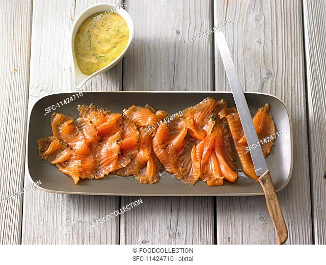 Cured salmon with a mustard and dill sauce