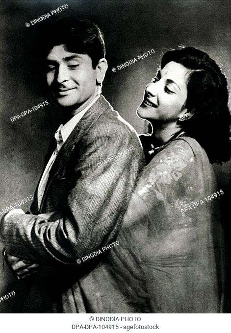 Portrait of Indian celebrity Raj Kapoor Actor and Nargis actress in Hindi cinema Bollywood , Bombay Mumbai , Maharashtra , India , NO MR