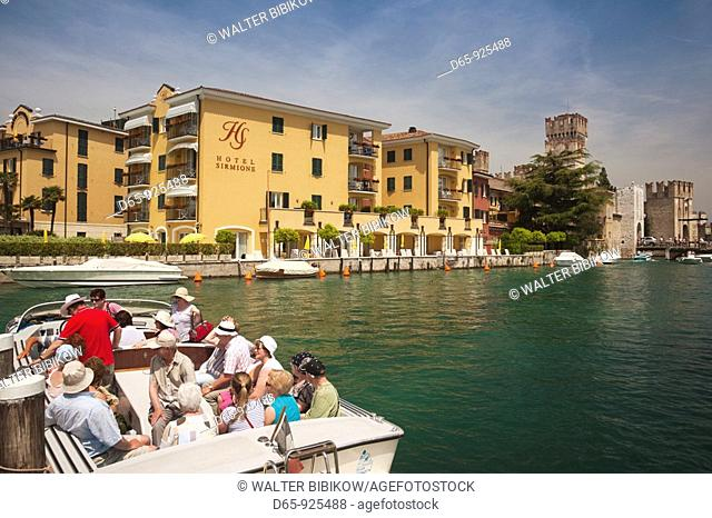 Italy, Lombardy, Lake District, Lake Garda, Sirmione, Hotel Sirmione and water taxi, NR