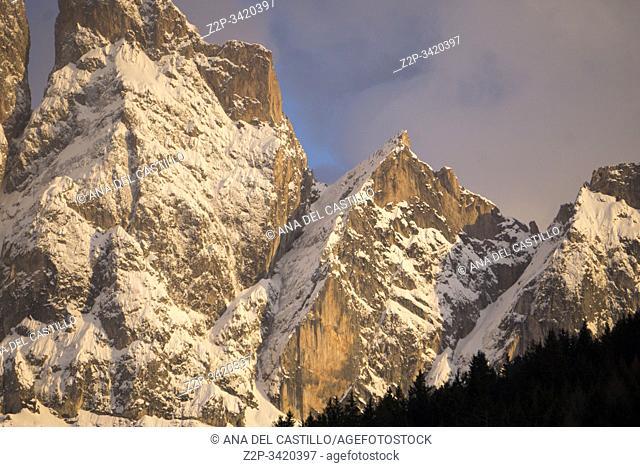 Wonderful landscape from Santa Maddalena village, Dolomites mountains, Funes valley South Tirol Italy, Europe