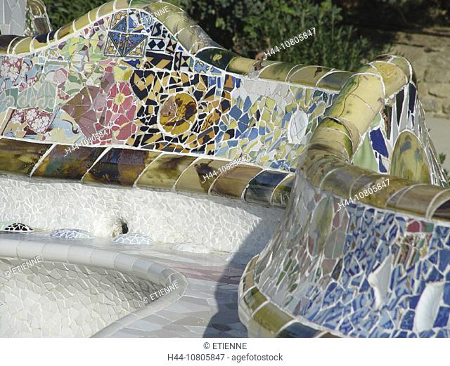 art, Europe, Barcelona, bench, ceramics, Gaudi, mosaic, park Guell, seat, skill, Spain