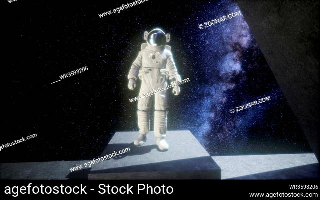 astronaut on space base in deep space. elements of this image furnished by NASA