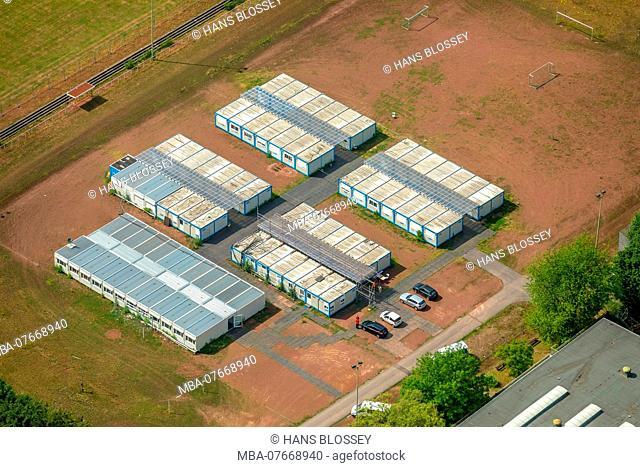 Aerial view, refugee containers, refugee accommodations near the Ingeborg-Drewitz comprehensive school Rentfort, Gladbeck, Ruhrgebiet, North Rhine-Westphalia