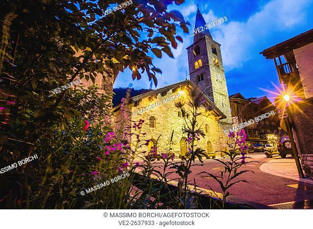 France, Rhone-Alpes, Val d'Isère . The Eglise (church) de Saint Bernard de Menthon