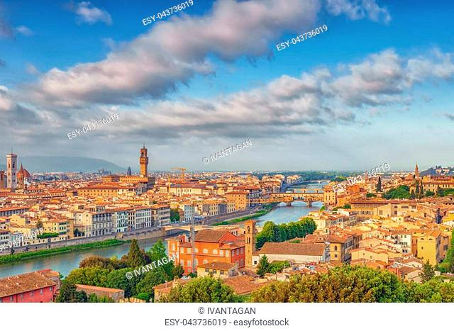 Beautiful landscape above, panorama on historical view of the Florence from Piazzale Michelangelo point. Morning time