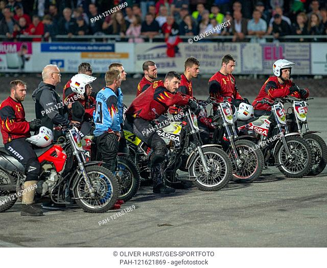 The German team is disappointed after the game. GES / Motoball / European Championship, Final: Germany - Russia, 22.06.2019. Sport: Motoball: Team vs