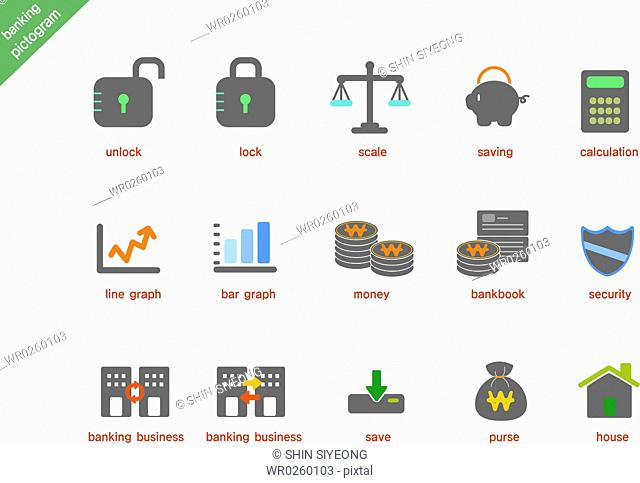 various banking pictogram icons