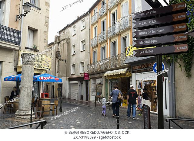 Place du Forum. Narbonne. Pedestrian shopping street in old city central Narbonne. South of France. The ancient town of Narbonne has a number of interesting and...