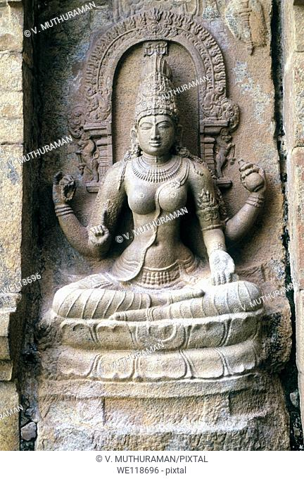 11th century sculpture Saraswathi in Shiva temple at Gangaikondacholapuram, Tamil Nadu, India  Gangaikondacholapuram was established as a capital city by the...