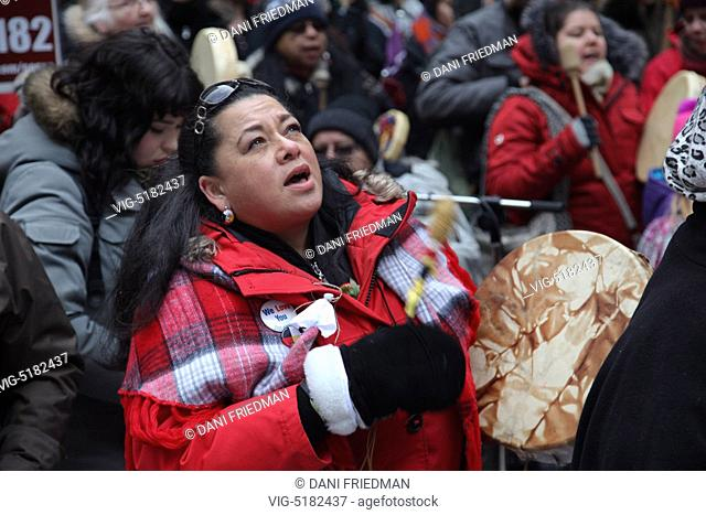 Toronto, Ontario, Canada. February 14, 2015 --- Aboriginal Canadians held the 10th annual Strawberry Ceremony for Missing and Murdered Indigenous Women and...