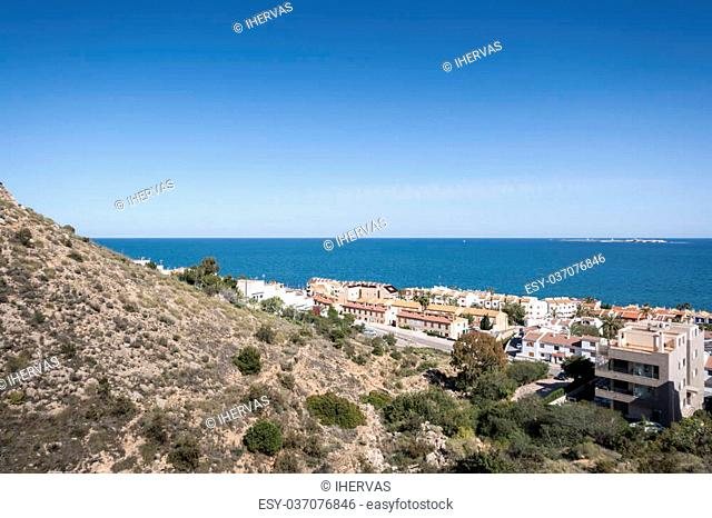 Views of Santa Pola town from Sierra de Santa Pola. It is a coastal town located in the comarca of Baix Vinalopo, in the Valencian Community, Alicante, Spain