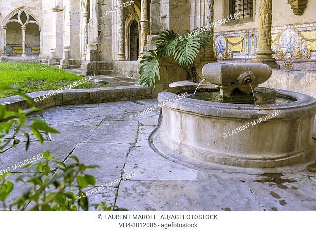 Paio Guterres Fountain in the Silence Cloister of Santa Cruz Monastery, Sofia Area, Coimbra, Baixo Mondego, Centro Region, Portugal, Europe