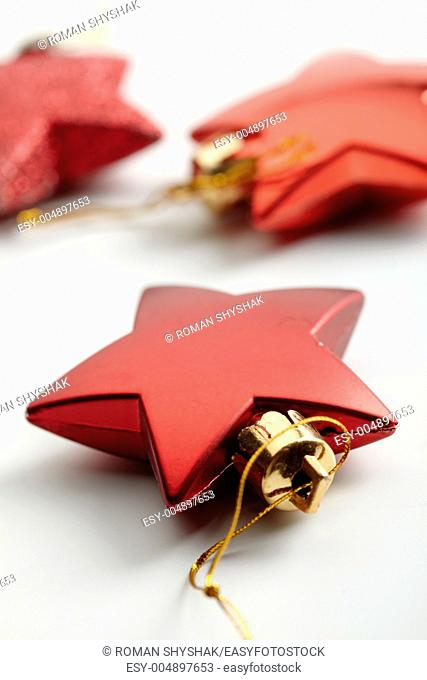 Red Christmas ornament with decoration on background