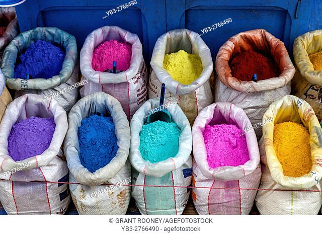 Sacks Of Colourful Clothes Dye, Chefchaouen, Morocco