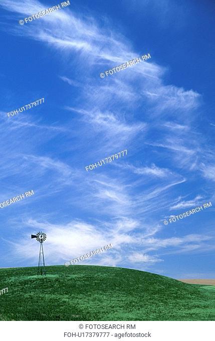 washington, wheat, palouse, sky, fields, windmill