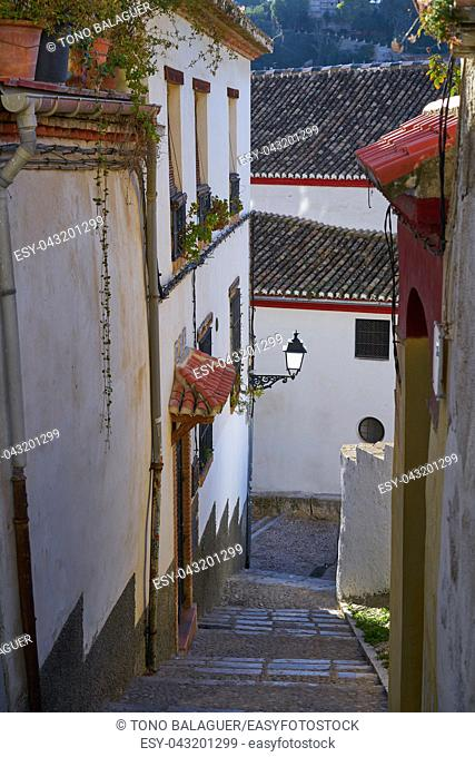 Albaicin of Granada narrow street of Andalusia muslim Spain