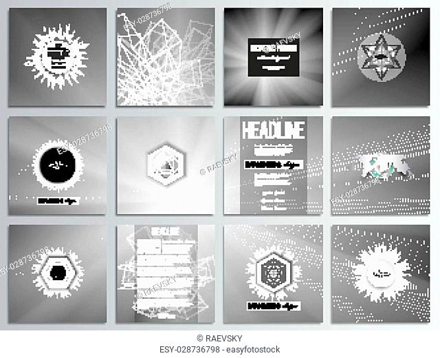 Set of 12 creative cards, square brochure template design. Abstract lines background, simple abstract monochrome texture