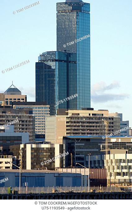 Melbourne skyline and Rialto from West, Victoria, Australia