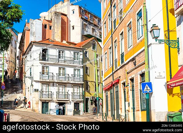On track of the famous tramline twenty-eight in the Alfama district of Lisbon