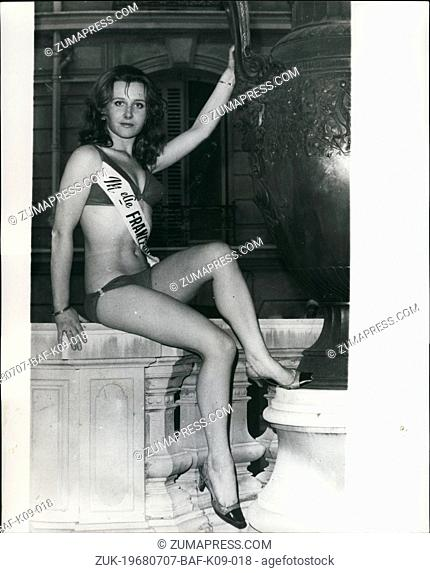 Jul. 07, 1968 - Meet Mademoiselle France: 20 year old Maryvonne Lachaze from Laval (Britanny) was elected Mademoiselle France 1968
