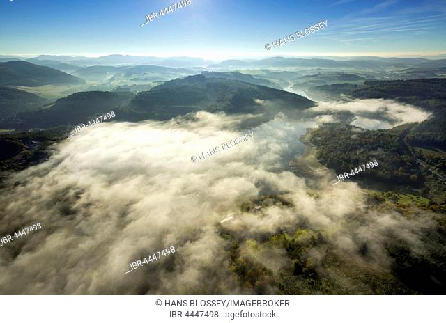 Morning fog over Lake Henne, Meschede, Sauerland, North Rhine-Westphalia, Germany