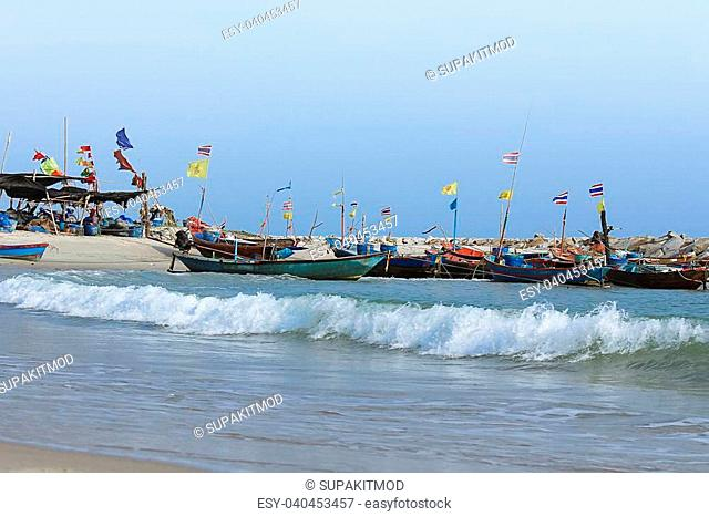 Summer day on the beach of Fishing villages, Thailand