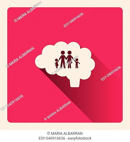 Brain thinking in the family illustration on red square background with shade