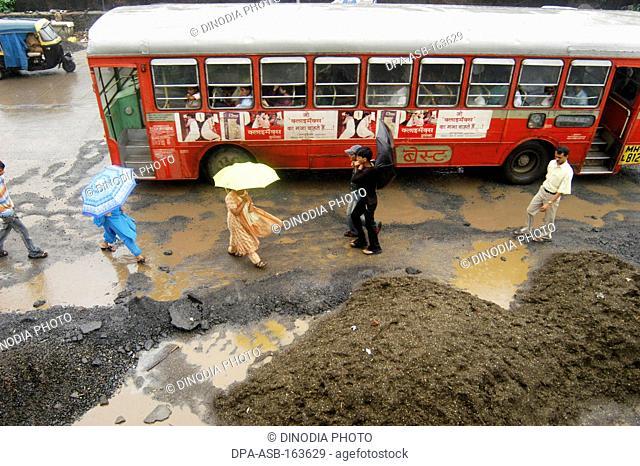 Potholes sprouting during rainy season in Bombay Mumbai ; Maharashtra ; India