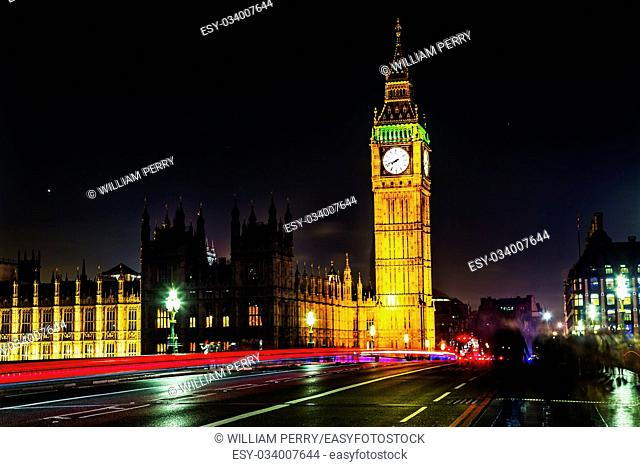 Big Ben Tower Westminster Bridge Night Houses of Parliament Westminster London England. Named after the Bell in the Tower