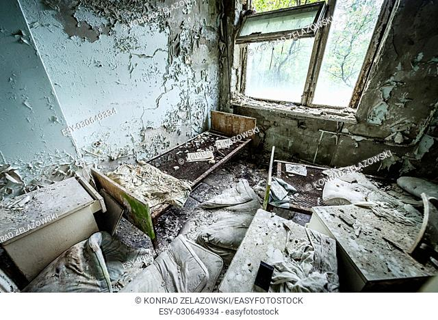 Room in Hospital No. 126 of Pripyat ghost city, Chernobyl Nuclear Power Plant Zone of Alienation around nuclear reactor disaster, Ukraine